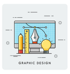 Graphic design drawing engineering thin line vector