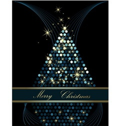 Christmas tree gold and blue vector image