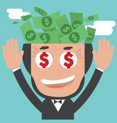 Banknotes in businessman bald head vector
