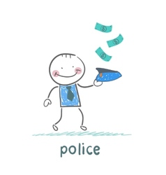 police collect money which fall vector image