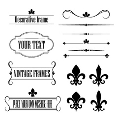 Set of frames deviders and borders - fleur de lis vector