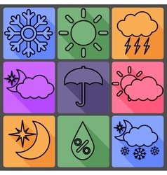 Weather icons on a colored background with shadows vector