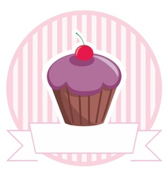 Cupcake on stripes background shop icon isolated vector