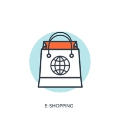 Flat lined shopping bag web shop vector