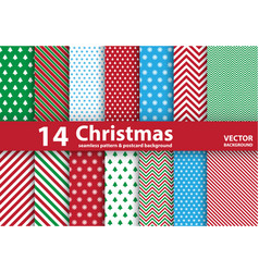 Set of christmas patterns and seamless background vector