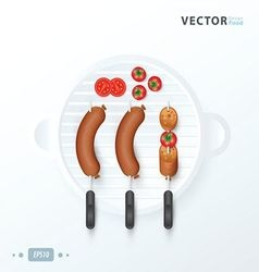 Rows of hot dogs and tomato on barbeque grill vector