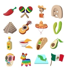 Mexico icons cartoon vector