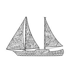 Sailboat coloring book for adults vector