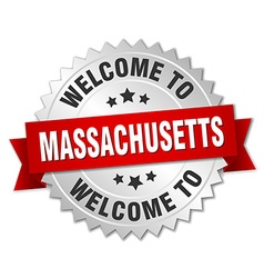 Massachusetts 3d silver badge with red ribbon vector