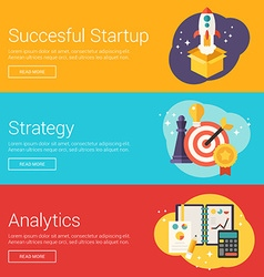 Succesful startup strategy analytics flat design vector