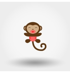 Monkey in a diaper with a pacifier icon vector