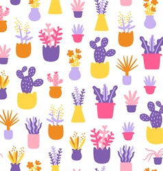 Abstract home plants colorful seamless pattern vector image vector image