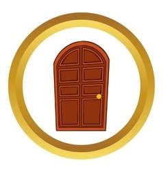 Brown arched wooden door icon vector