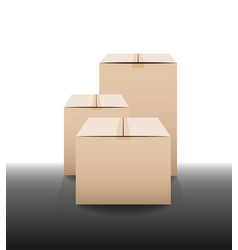 Brown closed carton delivery packaging boxes with vector