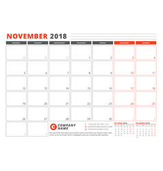 calendar template for 2018 year november business vector image vector image