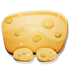 Cartoon cheese sign for ui game vector
