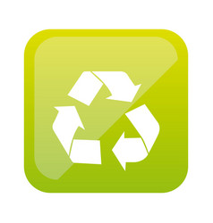 Color square with recycling icon vector