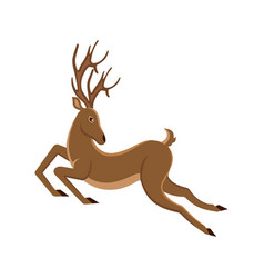 cute deer cartoon running reindeer moving vector image