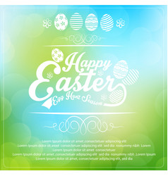 Easter card on blurred background vector