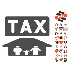 Family tax pressure icon with dating bonus vector