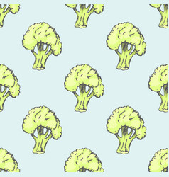 fresh broccoli inside endless texture vector image vector image