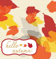 Hello autumn square with dot pattern vector