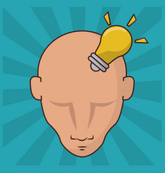 Human head with bulb idea concept creativity vector