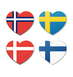 Icons of scandinavian flags vector