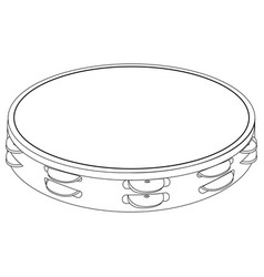 isolated tambourine outline vector image vector image