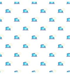 Laptop with speech bubble pattern cartoon style vector