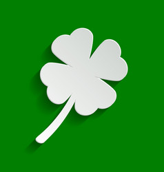 Leaf clover sign paper whitish icon with vector