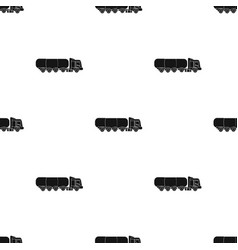 Oil tank trucker icon in black style isolated on vector
