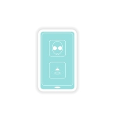 Paper sticker on white background mobile app vector