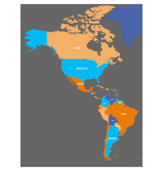 political map of americas in four colors on dark vector image vector image