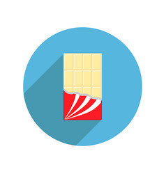 Round white chocolate bar icon shadow opened red vector