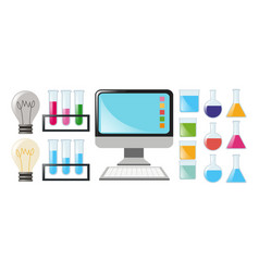 science set with beakers and computer vector image