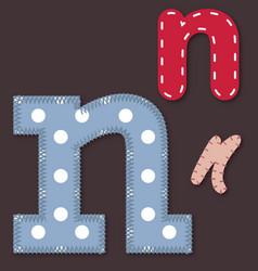 Set of stitched font - Letter N vector image vector image