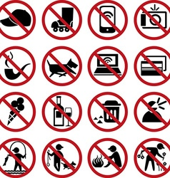 set prohibited signs vector image