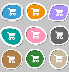 shopping basket icon symbols Multicolored paper vector image