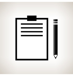 Silhouette clipboard with a pencil vector