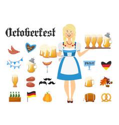 Smiling bavarian woman blonde dressed in vector
