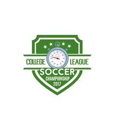 Soccer shield label of football sport game team vector