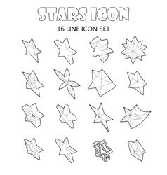 Star icons set in outline style vector image