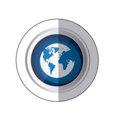 sticker blue circular button with silhouette globe vector image