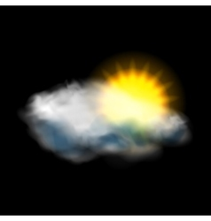 Sun and cloud weather icon vector image