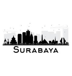 surabaya city skyline black and white silhouette vector image vector image