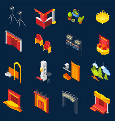theatre isometric icons set vector image vector image