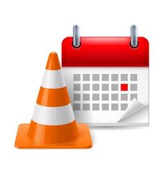Traffic cone and calendar vector