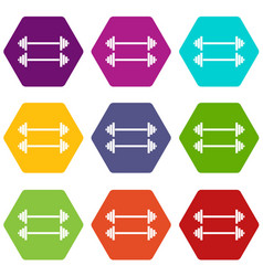 two barbells icon set color hexahedron vector image