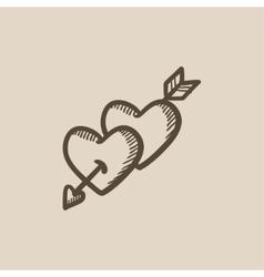 Two hearts pierced with arrow sketch icon vector image
